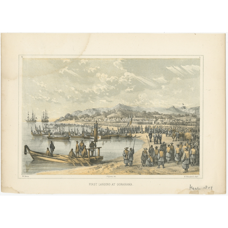 Antique Print of the Landing at Gorahama by Hawks (1856)