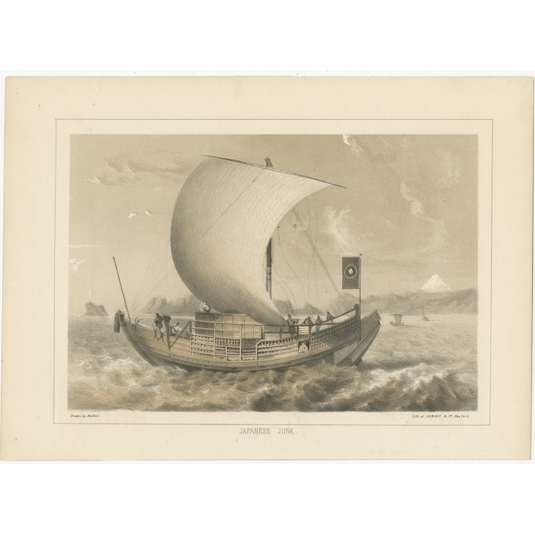 Antique Print of a Japanese Junk by Hawks (1856)