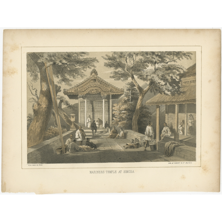 Antique Print of the Mariners Temple in Shimoda by Hawks (1856)