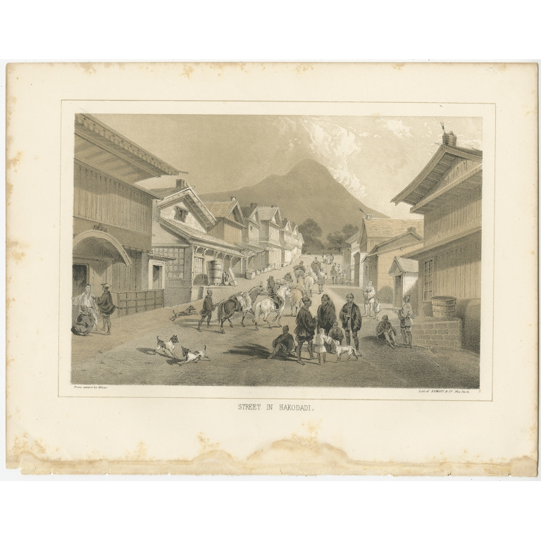 Antique Print of a Street in Hakodate by Hawks (1856)