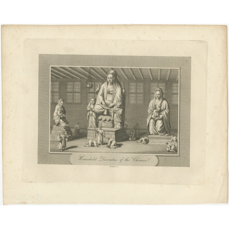 Antique Print of Chinese Deities by Pelham (1808)