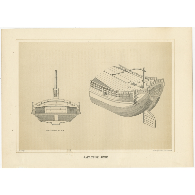 Antique Print of a Japanese Junk Cross Section by Hawks (1856)