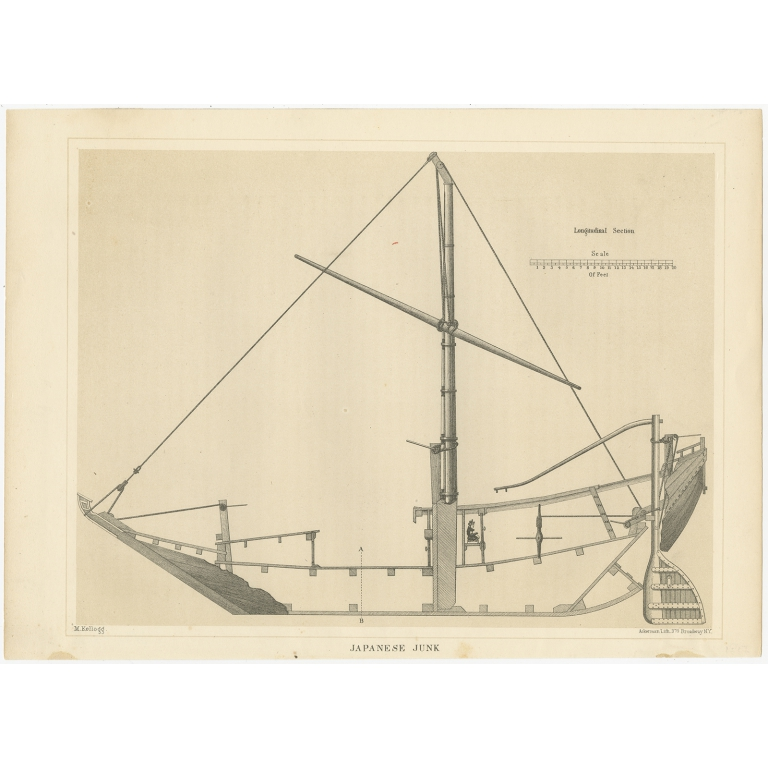 Antique Print of a Japanese Junk Longitudinal Section by Hawks (1856)