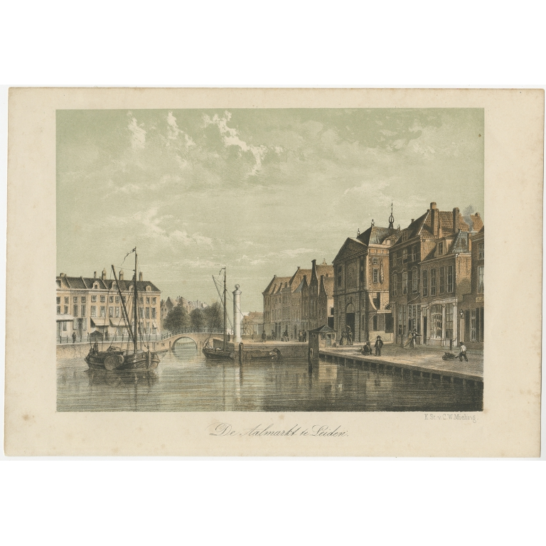 Antique Print of the 'Aalmarkt' of Leiden by Mieling (c.1860)