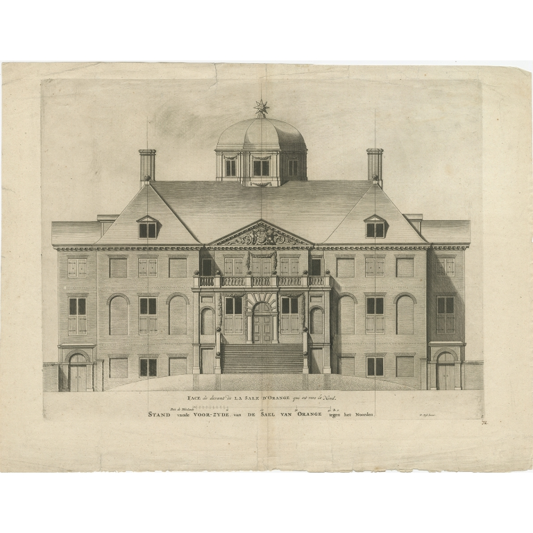 Antique Print of Huis ten Bosch by Post (1715)