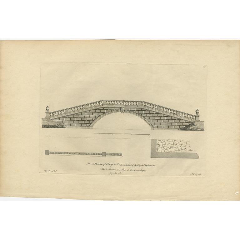 Antique Print of a Bridge of Kimpton Hoo by Gandon (c.1770)