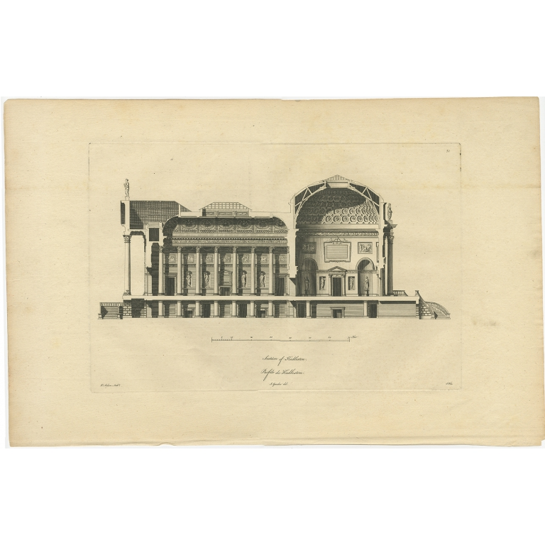 Antique Print of a Section of Kedleston Hall by Gandon (c.1770)