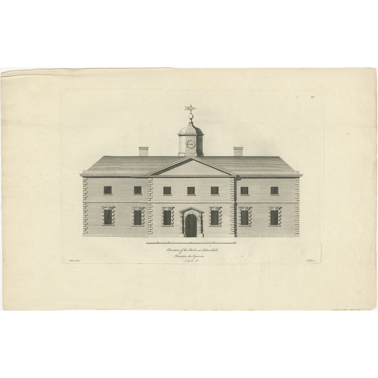 Antique Print of the Stables of Lathom House by Gandon (c.1770)