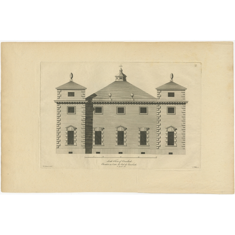 Antique Print of the Southern Facade of Coombank by Gandon (c.1770)