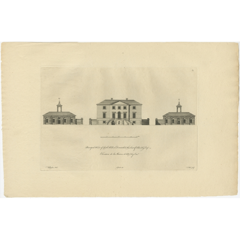 Antique Print of the Main Facade of Castle Hill by Gandon (c.1770)