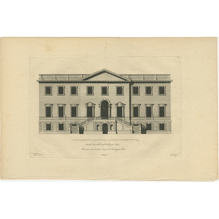 Antique Print of Chesterfield House by Woolfe (c.1770)