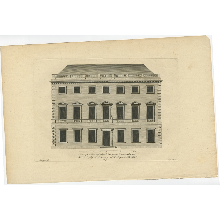 Antique Print of the Duke of York's Palace by Woolfe (c.1770)