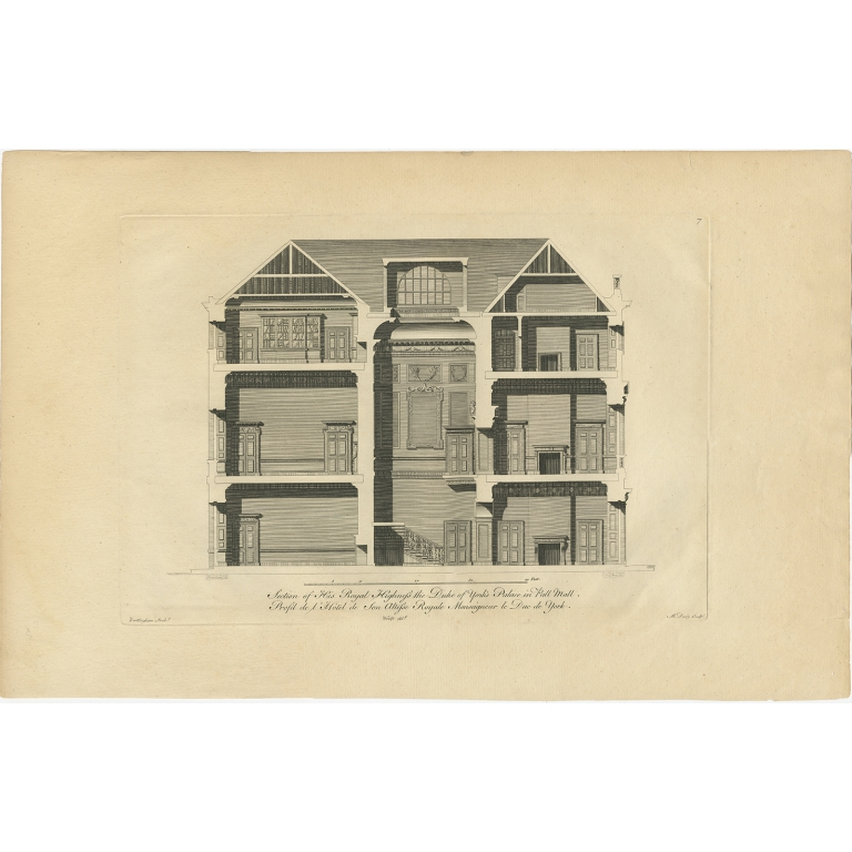 Antique Print of a Section of the Duke of York's Palace by Woolfe (c.1770)