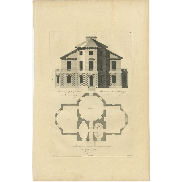 Antique Print of Richmond Place by Woolfe (c.1770)