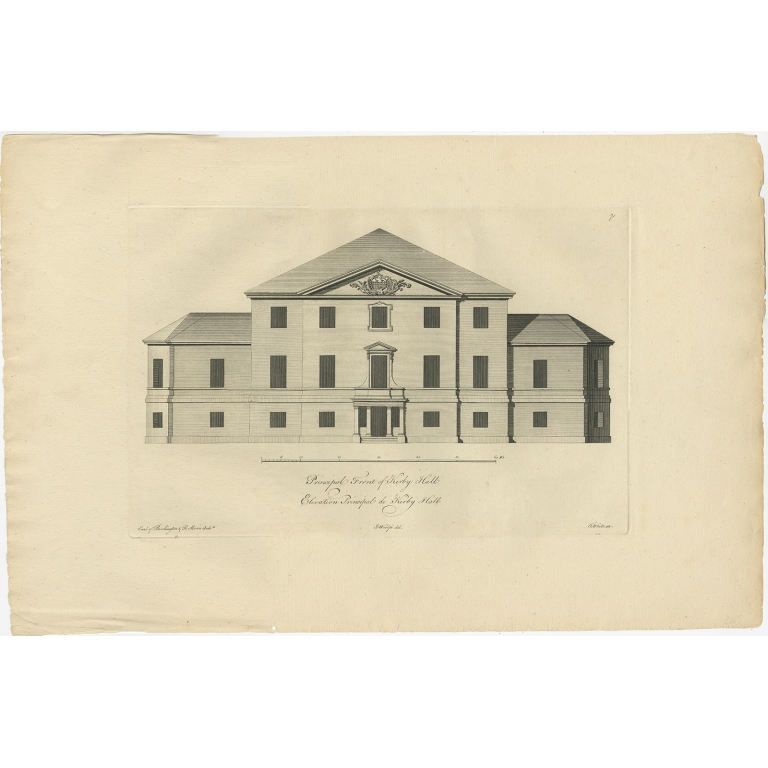 Antique Print of the Main Facade of Kirby Hall by Woolfe (c.1770)