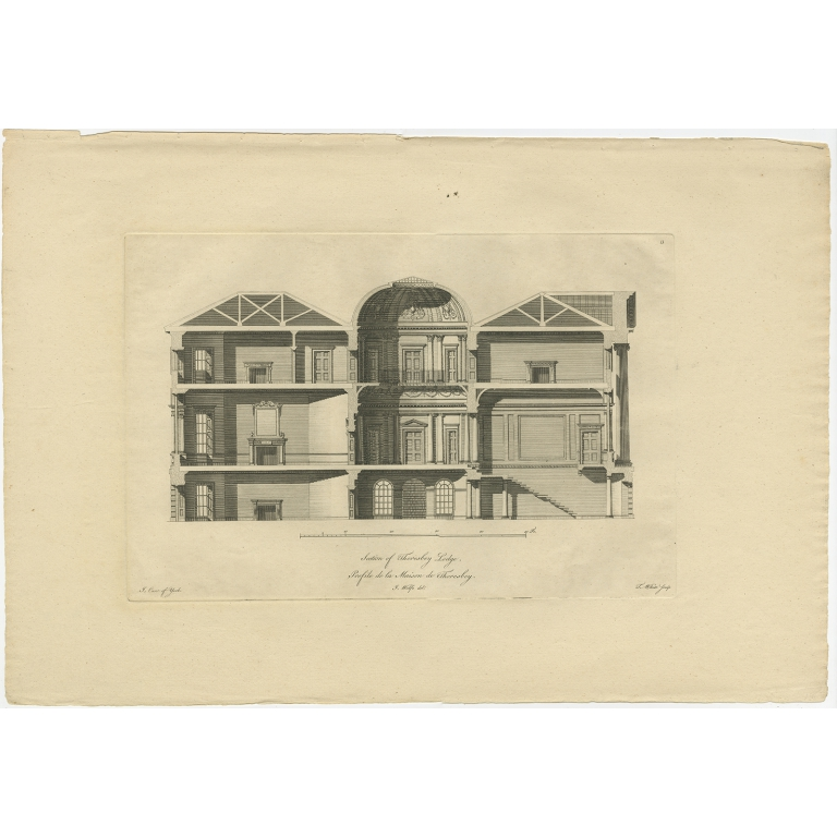 Antique Print of a Section of Thoresby Lodge by Woolfe (c.1770)