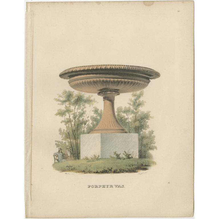 Antique Print of a Porphyry Vase by Sandberg (c.1864)