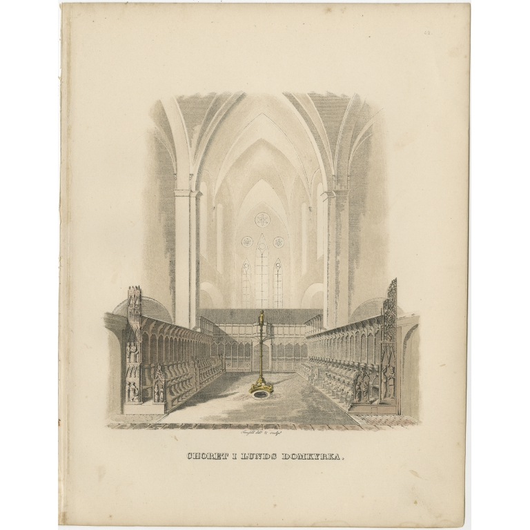 Antique Print of the Interior of Lund Cathedral by Sandberg (c.1864)