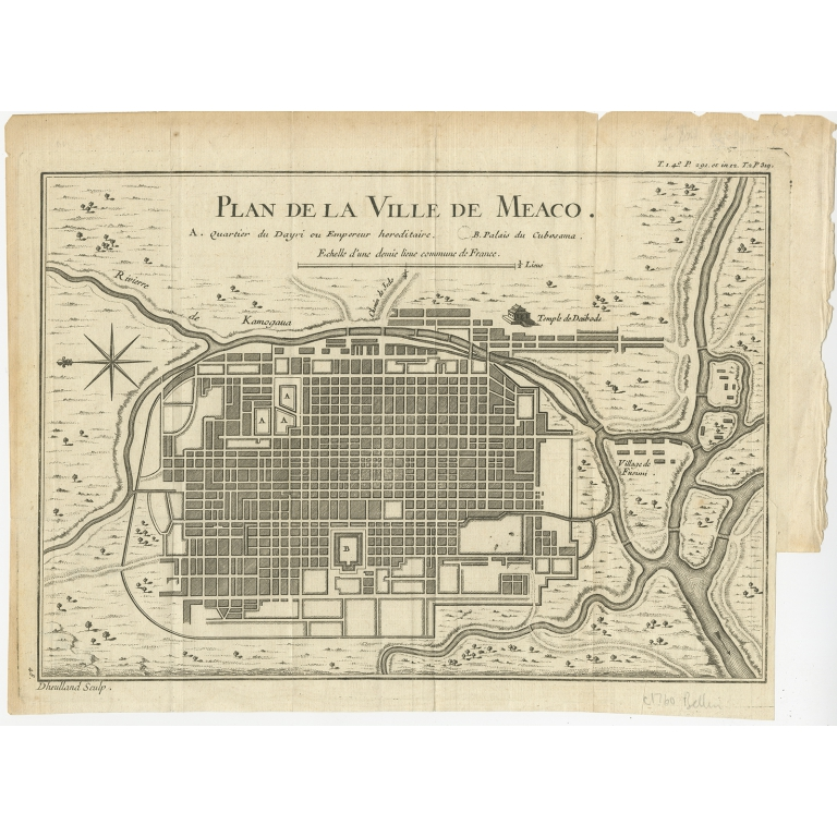 Antique Map of Kyoto by Bellin (c.1740)