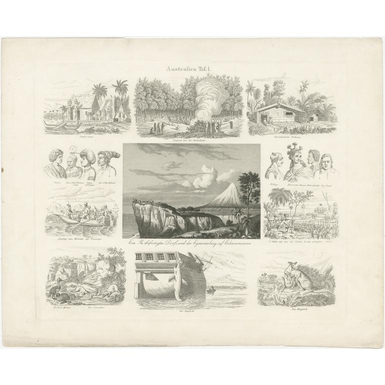 Pl. 1 Antique Print of Australia by Rosmäsler (c.1844)