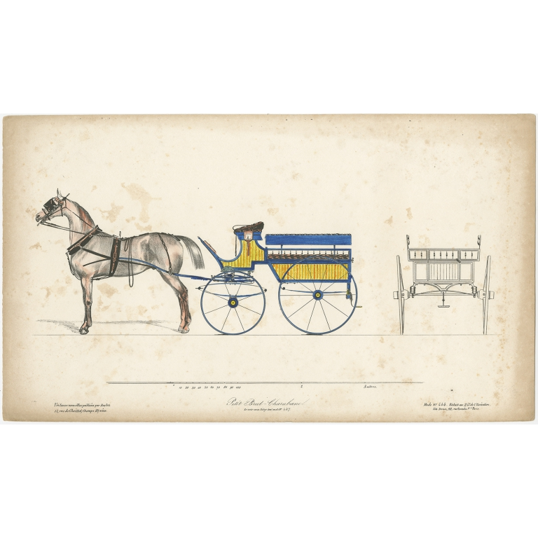 No. 444 Antique Print of a Horse and Carriage by Decan (c.1830)