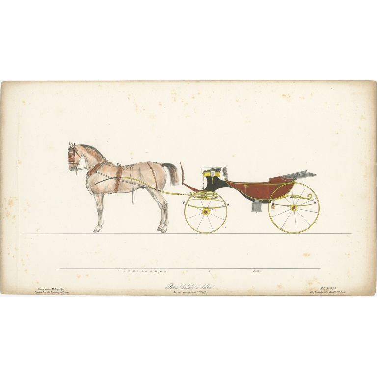 No. 454 Antique Print of a Horse and Carriage by Destouches (c.1830)