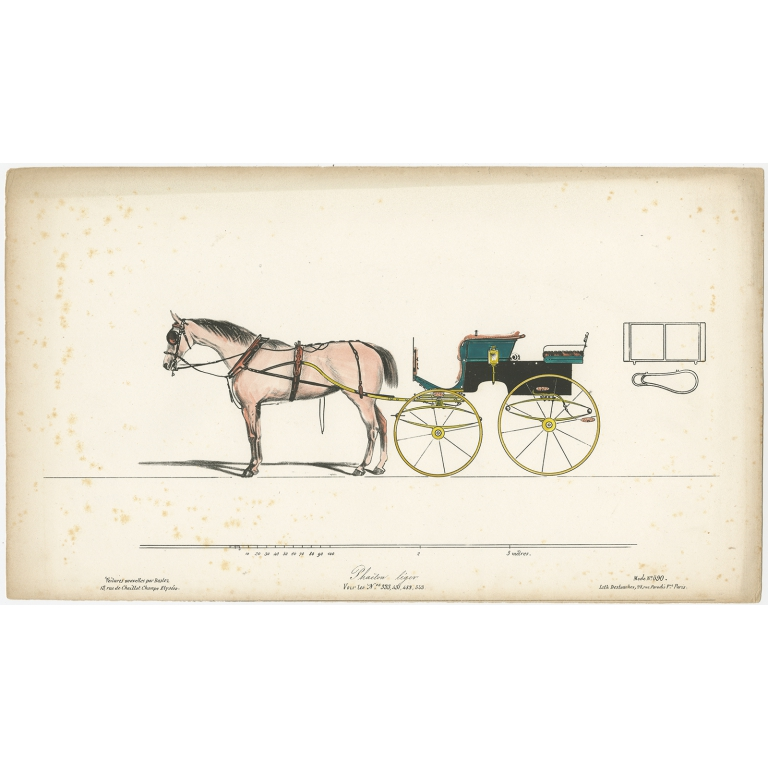 No. 333 Antique Print of a Horse and Carriage by Destouches (c.1830)