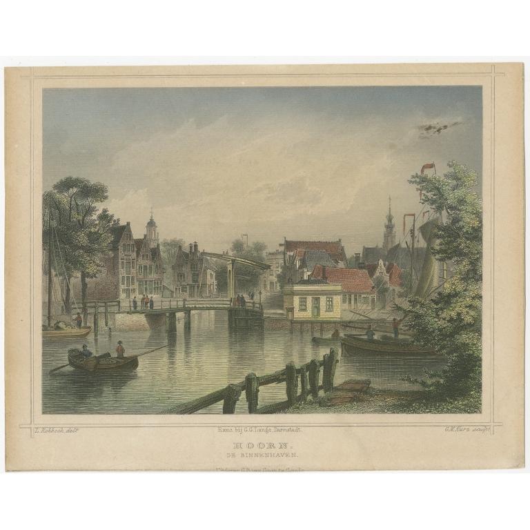 Antique Print of the Harbour of Hoorn by Terwen (1858)