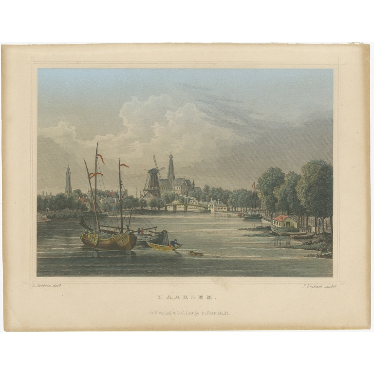 Antique Print of Haarlem by Terwen (1863)