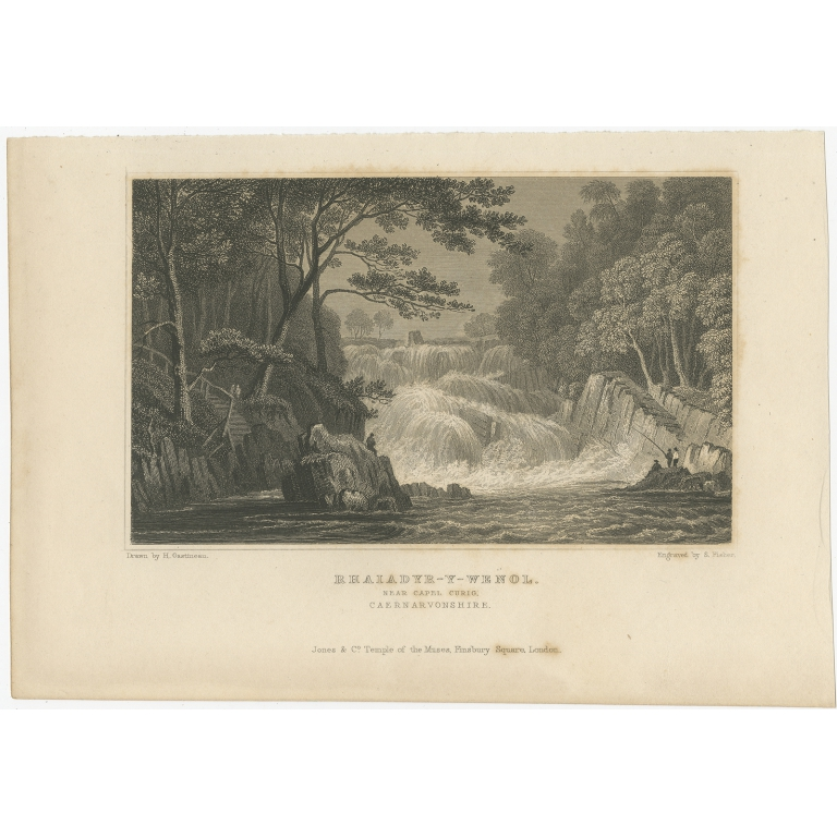 Antique Print of the Waterfall at Rhaeadr-y-wenol by Fisher (c.1830)