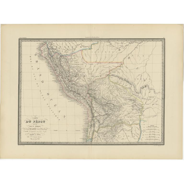 Antique Map of Peru, Ecuador and Bolivia by Lapie (1841)