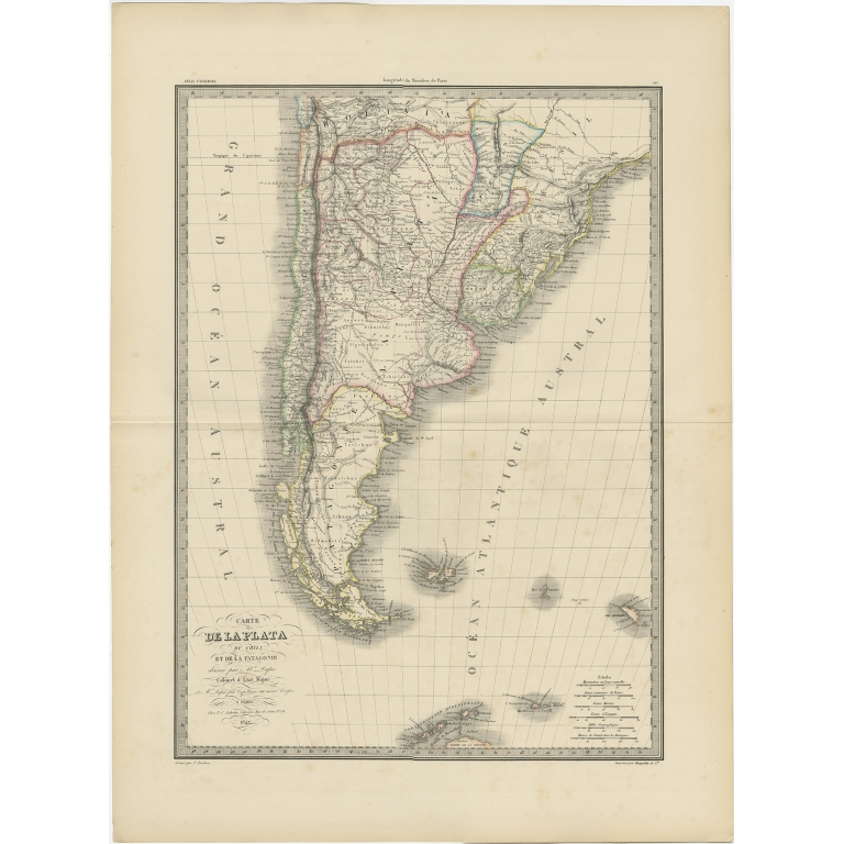 Antique Map of Chile and Patagonia by Lapie (1841)