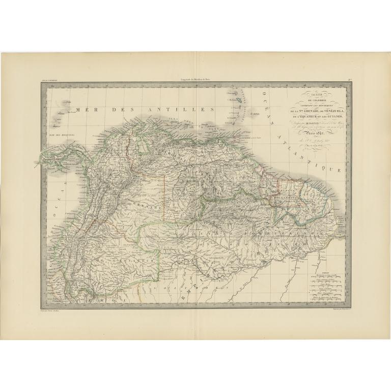Antique Map of Brazil, Ecuador, Colombia and Venezuela by Lapie (1841)