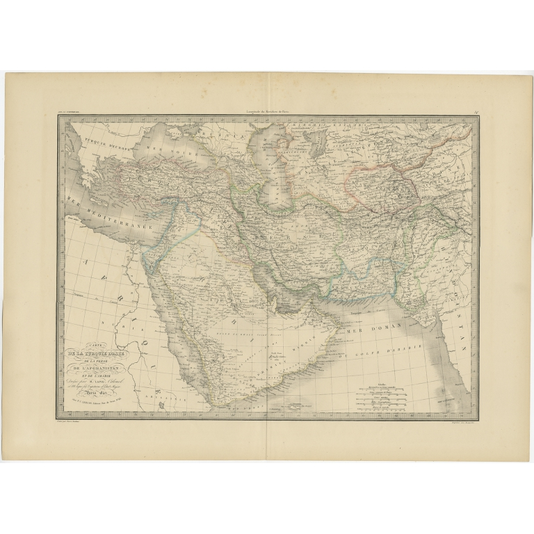 Antique Map of Turkey, Persia and Afghanistan by Lapie (1842)