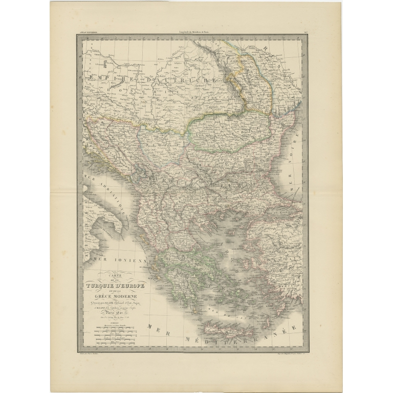 Antique Map of Turkey and Greece by Lapie (1842)
