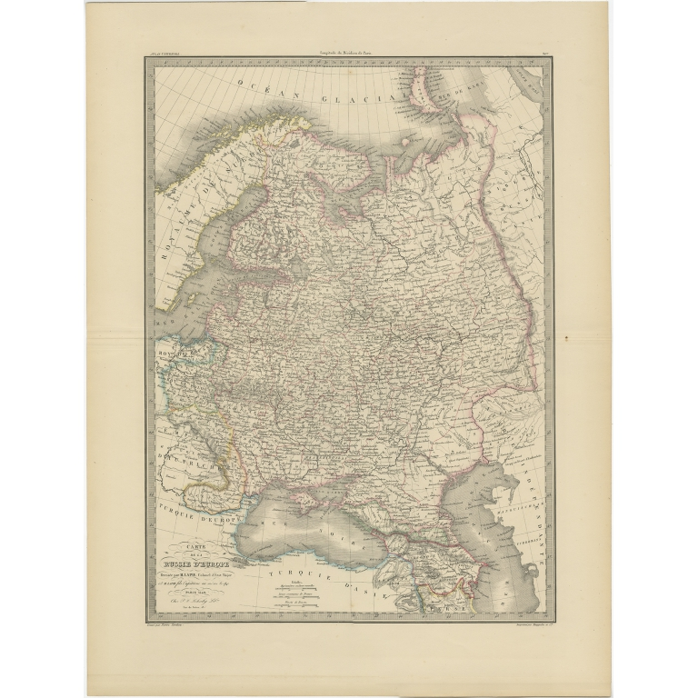 Antique Map of Russia in Europe by Lapie (1842)