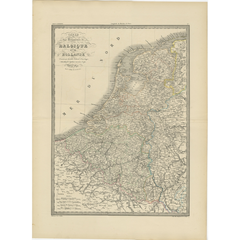 Antique Map of the Netherlands and Belgium by Lapie (1842)