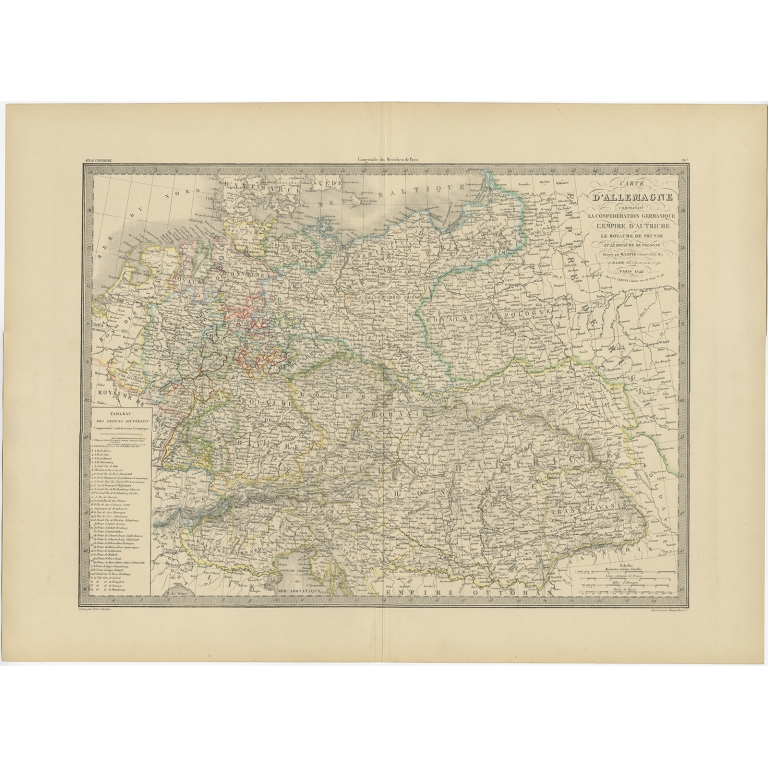 Antique Map of Germany by Lapie (1842)