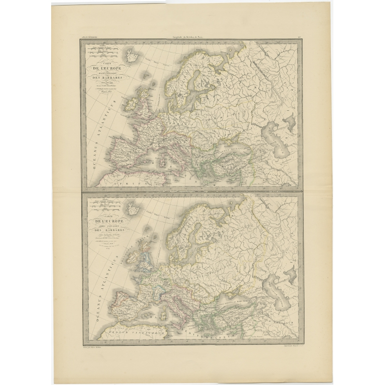 Antique Map of Europe by Lapie (1842)