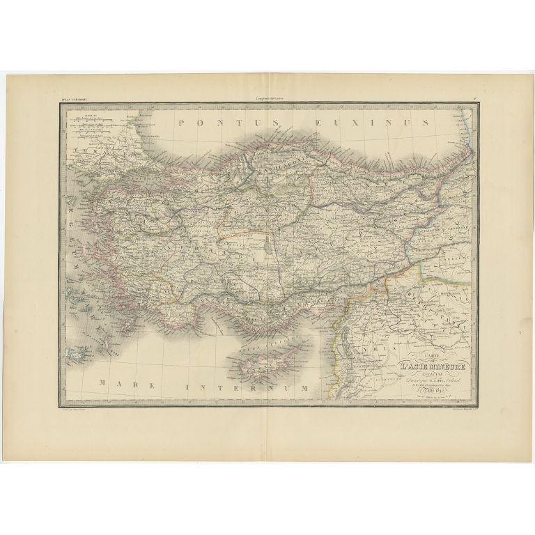Antique Map of Asia Minor by Lapie (1842)