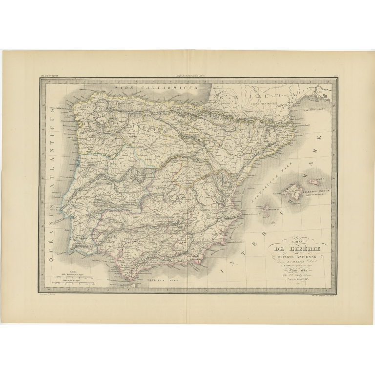 Antique Map of Iberia by Lapie (1842)