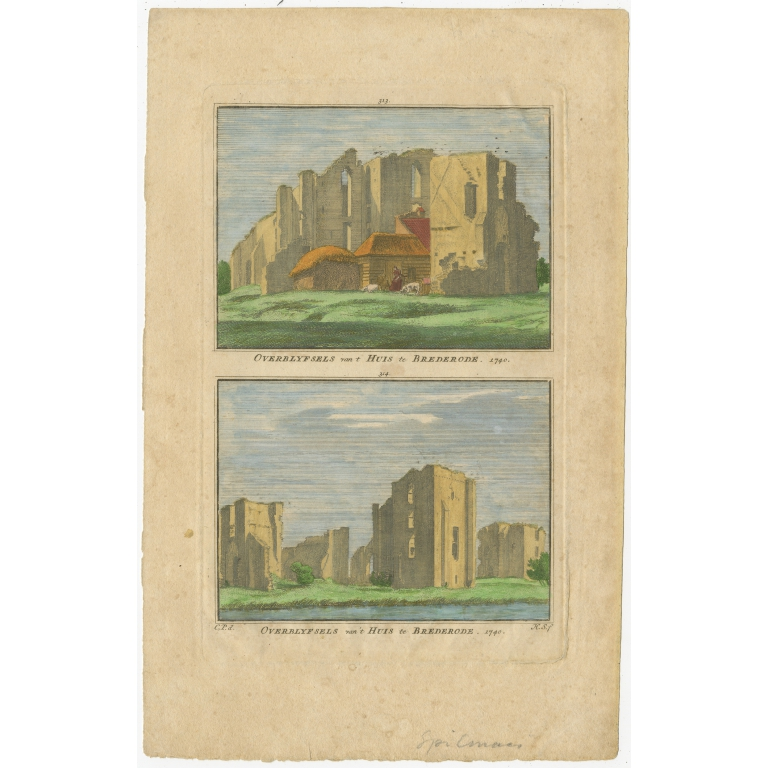 Antique Print of the Ruin of Brederode by Spilman (c.1792)
