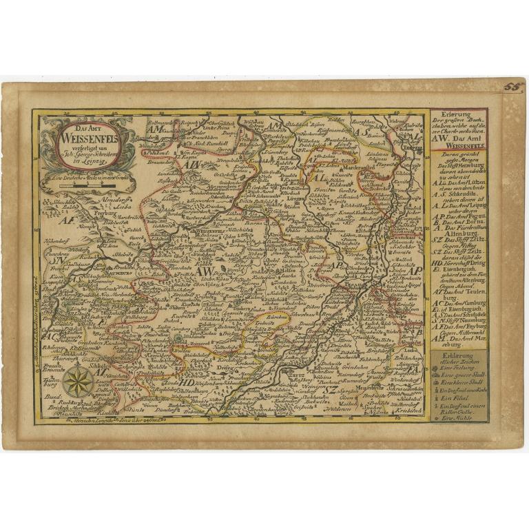 Antique Map of the Region of Weißenfels by Schreiber (1749)