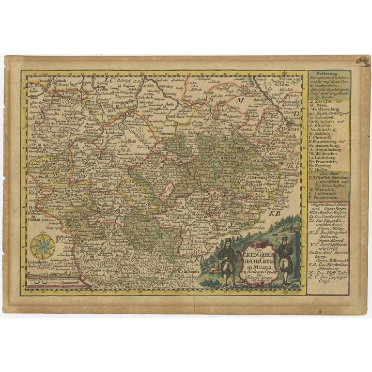 Antique Map of the Region of Meissen by Schreiber (1749)