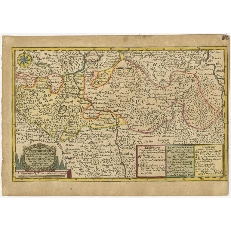Antique Map of the Region of Sagan by Schreiber (1749)