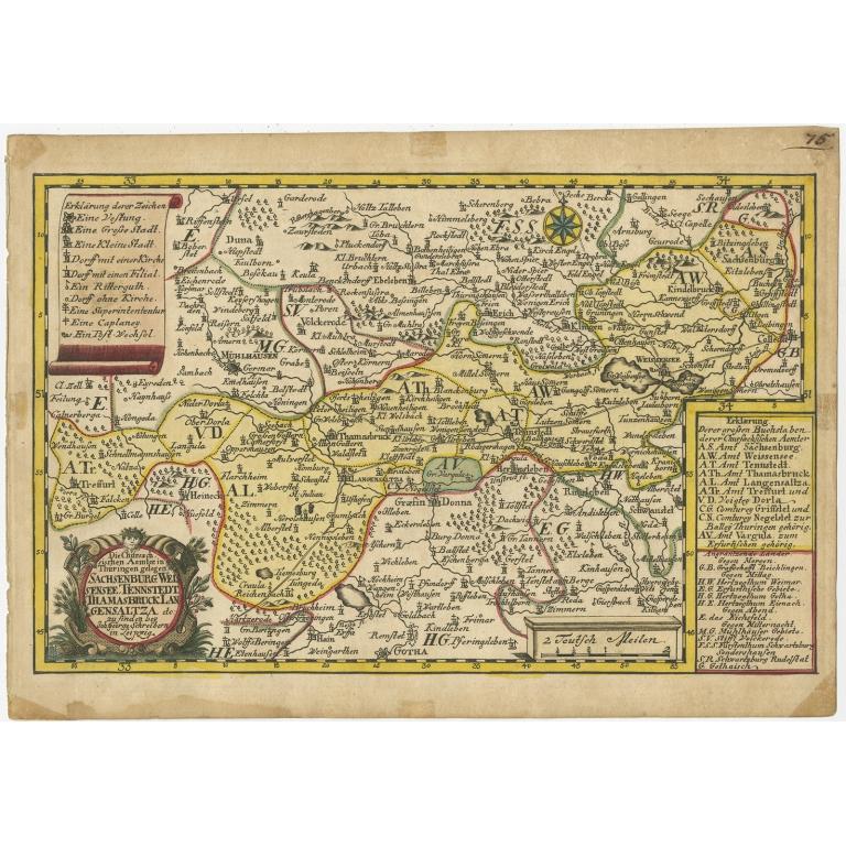Antique Map of the Region of Weißensee by Schreiber (1749)