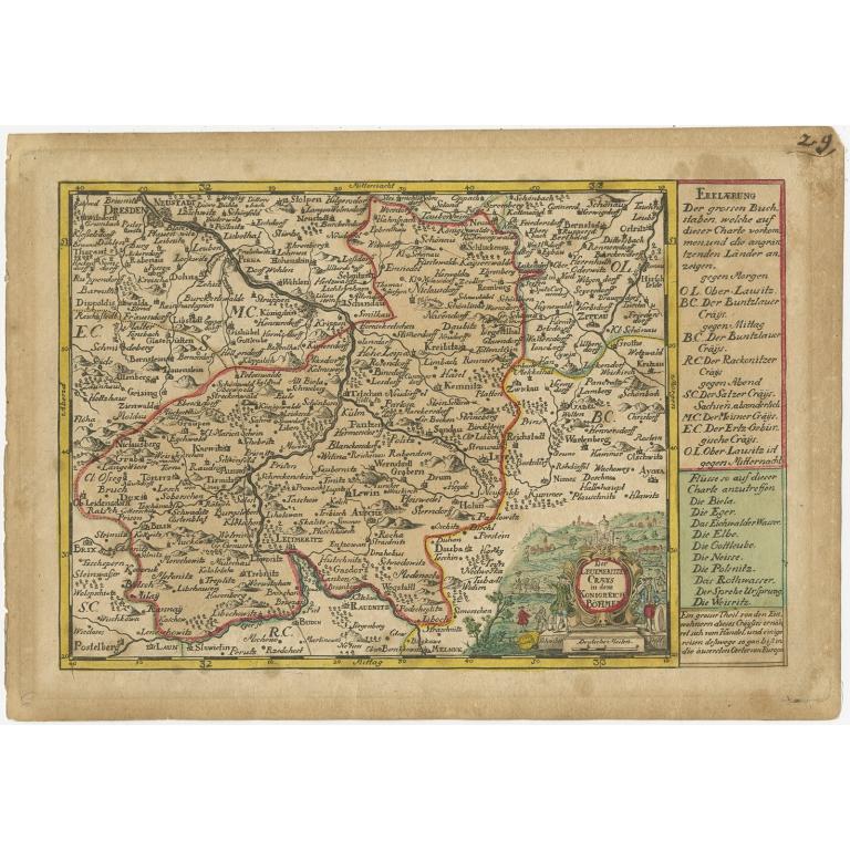 Antique Map of the Leitmeritzer Kreis by Schreiber (1749)