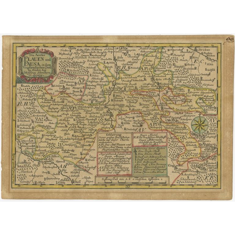 Antique Map of the Region of Plauen by Schreiber (1749)