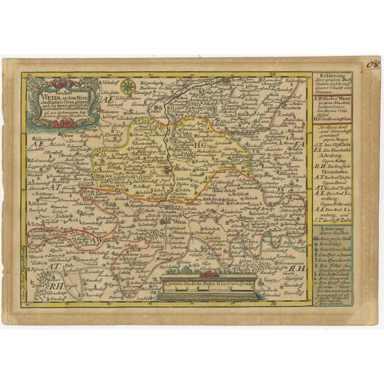 Antique Map of the Region of Weida by Schreiber (1749)
