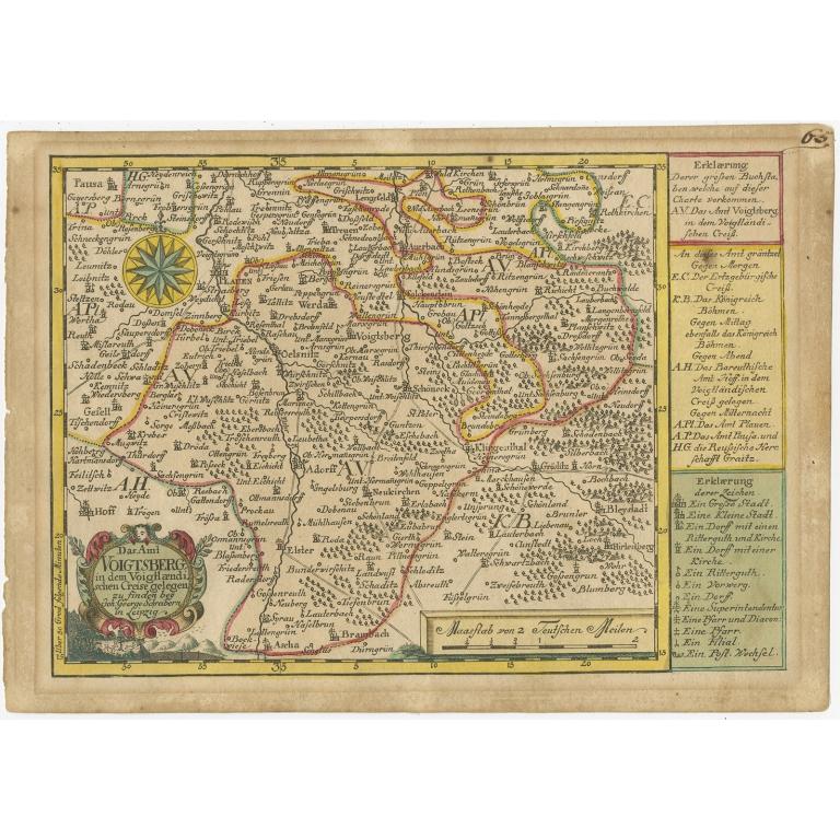 Antique Map of the Region of Voigtsberg by Schreiber (1749)